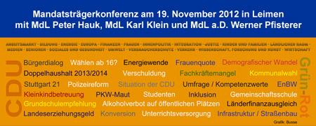 Mitgliederoffene Mandatsträgerkonferenz am 19.11.12: Landespolitik im Fokus - Grafik: Busse