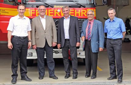 Auf dem Foto von links nach rechts: Dr. Georg Belge, Werner Pfisterer, Karl Klein MdL, Bruno Sauerzapf und Holger Schlechter.