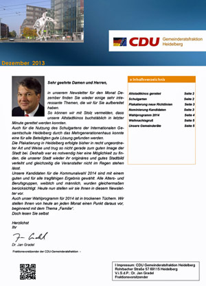 Newsletter der Heidelberger CDU-Gemeinderatsfraktion (Dezember 2013)