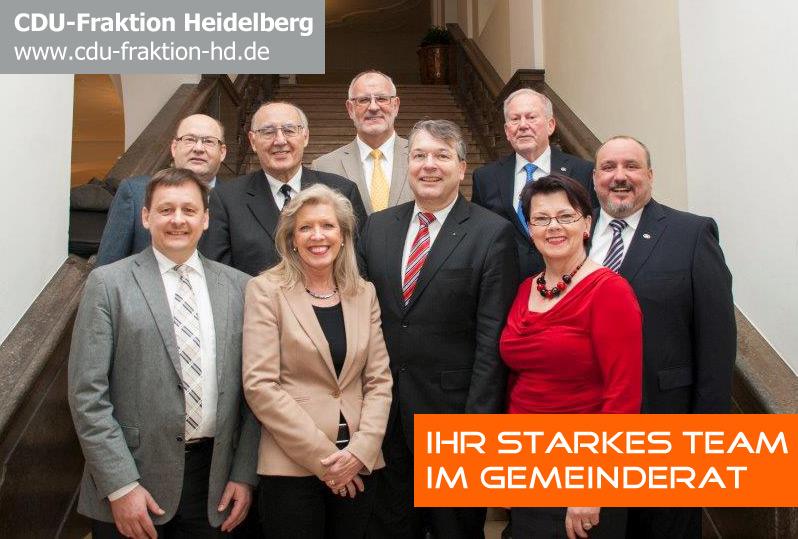 Die Heidelberger CDU-Gemeinderatsfraktion (v.l.n.r.): Martin Ehrbar, Otto Wickenhäuser, Ernst Gund, Kristina Essig, Werner Pfisterer, Dr. Jan Gradel, Alfred Jakob, Margret Dotter und Thomas Barth.